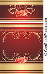 dekorativ, hintergrund, mit, rosen
