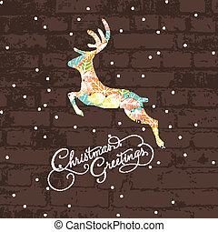 dekorativ, hirsch, weihnachten
