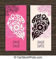 dekorativ, hjärta, bröllop inbjudan, stilig, kort