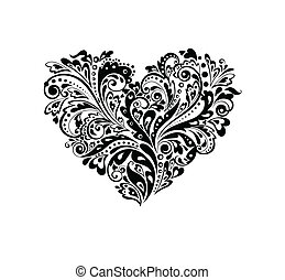 dekorativ, hjärta gestalta, w, (black