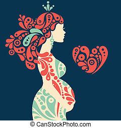 dekorativ, hjärta, kvinna, silhuett, gravid, abstrakt, blomningen, symbol