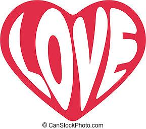 dekorativ, hjärta, valentinkort dag, vektor