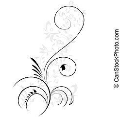 dekorativ, illustration, blommig, flourishes, virvla, vektor...