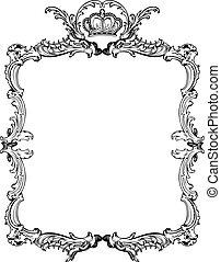 dekorativ, illustration., weinlese, vektor, aufwendig, frame.
