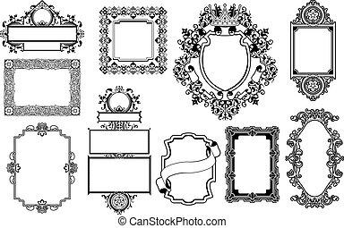 dekorativ, inramar, grafik formge