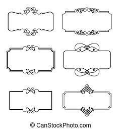dekorativ, inramar, sätta, vektor, illustration