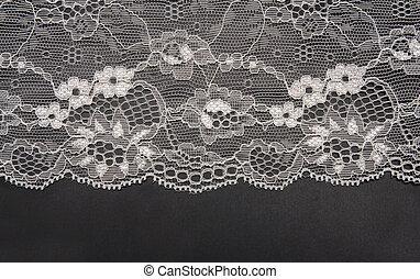 dekorativ, isoliert, spitze, schwarzer hintergrund, weißes