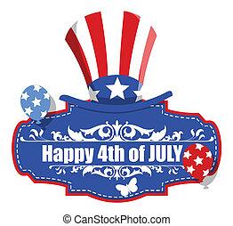 dekorativ, juli 4, banner, glücklich
