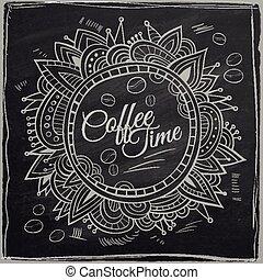 dekorativ, kaffe, border., bakgrund, tid, chalkboard.