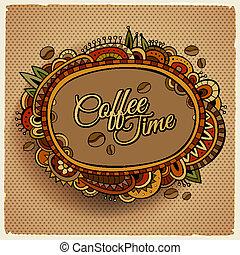 dekorativ, kaffe, etikett, design, tid, gräns