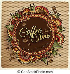 dekorativ, kaffe, etikett, tid, gräns, design.