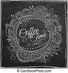 dekorativ, kaffe, gräns, tid