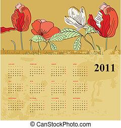 dekorativ, kalender, für, 2011, mit, blumen
