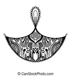 dekorativ konstruktion, di, element, indisk, sort, gennemlyse, hvid