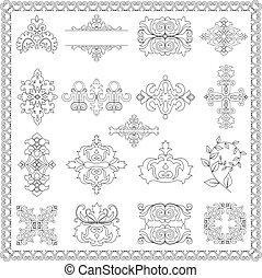 dekorativ konstruktion, elementer, (line)