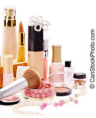 dekorativ, kosmetikartikel, makeup.