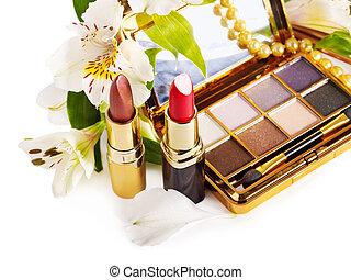 dekorativ, kosmetikartikel, und, flower.