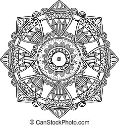 dekorativ, kunst, inspiriert, hand, mandala, vektor,...