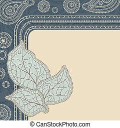 dekorativ, leaves., (vintage, vektor, design, background)