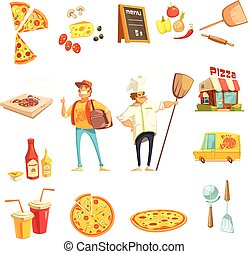 dekorativ, machen, satz, pizza, heiligenbilder