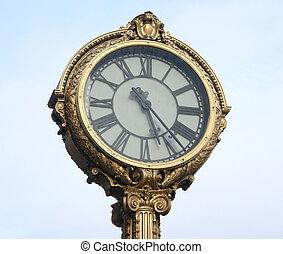dekorativ, nostalgisk, klocka