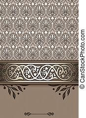 dekorativ, ornamental, årgång, bakgrund, border.