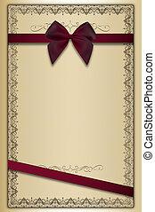 dekorativ, ornamental, årgång, bow., bakgrund, gräns