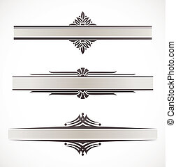 dekorativ, ornamental, elementara, inramar, vektor