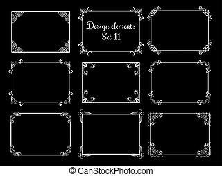 dekorativ, ornamental, frames., årgång, elegant, vektor, blommig, kanter