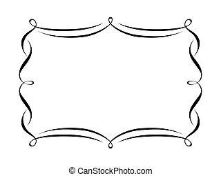 dekorativ, ornamental, ram, kalligrafi