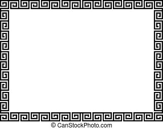 dekorativ, ornamental, stil, ram, grek, svart