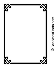 dekorativ, ornamental, stil, ram, romersk, svart