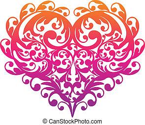 dekorativ, ornamental, vektor, hjärta