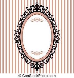 dekorativ, oval, årgång, ram