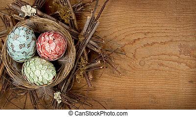 dekorativ, påsk eggar, gjord, av, papper, in, bygga bo