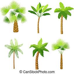dekorativ, palmträdar, ikonen, sätta