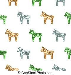 dekorativ, pferd, pony, muster, seamless, blumen-, silhouette, texture.