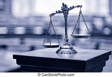 dekorativ, rättvishets skalor, in, den, rättssal