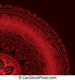 dekorativ, röd, ram, med, årgång, runda, mönster
