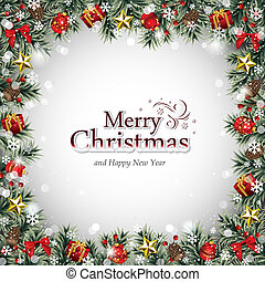 dekorativ, ram, jul ornamenter