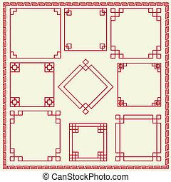 dekorativ, ram, kinesisk