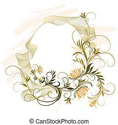 dekorativ, ram, med, blommig, prydnad