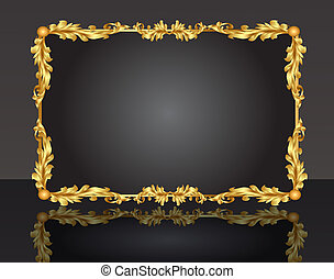 dekorativ, ram, med, mönster, guld, ark