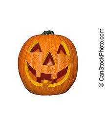 dekorativ, rolig, halloween, isolerat, bakgrund, vit, pumpa