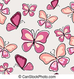 dekorativ, rosa, fjärilar, seamless, mönster
