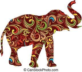 dekorativ, rotes , elefant