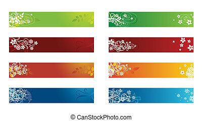 dekorativ, säsongbetonad, gräns, blommig