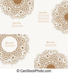 dekorativ, sätta, årgång, element, fyra, design