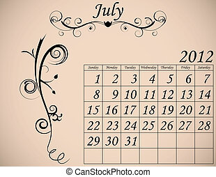 dekorativ, sätta, 2, kalender, fanfar, juli, 2012