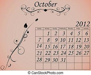 dekorativ, sätta, 2, kalender, oktober, fanfar, 2012